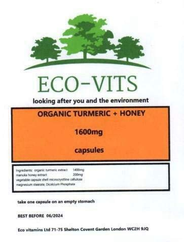 ECO-VITS Organic Turmeric & Honey (1600MG) 60 CAPS. Biodegradable Packaging. Sealed Pouch
