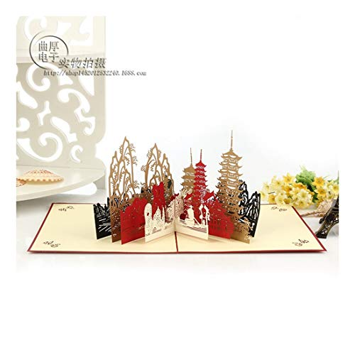ZHOUBIN  2 fogli/set Carving and Hollowing Out 3D Cards/Greeting Cards/Regali di Natale Capodanno/Auguri di compleanno/Oriental Spring Festival City Scenery