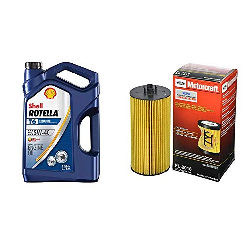 Shell Rotella T6 Full Synthetic 5W-40 Diesel Engine Oil (1-Gallon, Case of 3) + Motorcraft FL-2016 Oil Filter