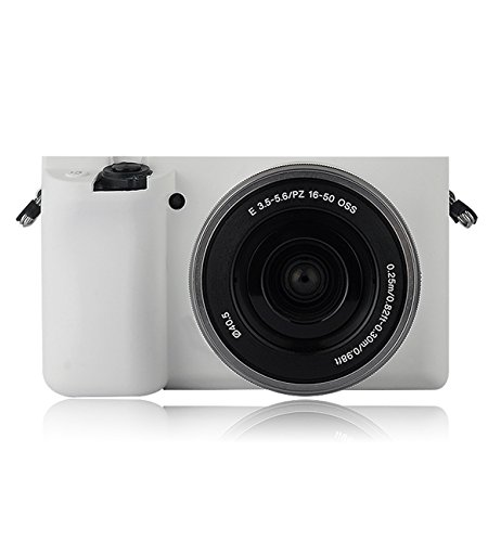 Silicone Case Soft Protective Skin For Sony A5100 A5000 16-50mm Lens - White