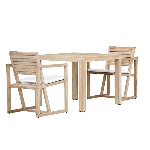 Jan Kurtz Timber Teakholz Gartenmöbel-Set, natur Teak 1 Tisch 90x75x90cm 2 Armlehnstühle 57x84x67cm