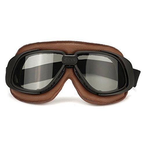 Alamor Motos Retro Gafas De Vuelo Scooter Casco A Prueba De Viento Gafas Anti-UV Marco Marrón-Gris