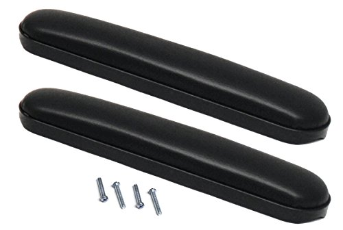 """Heavy Duty Desk Length (10-1/4"""") Wheelchair Arm Pads, Black (Pair), Fits Most Medline, Drive, Invacare, E&J, Guardian, Lumex, Tuffcare, ALCO & Other Desk Arm Manual Wheelchairs"""