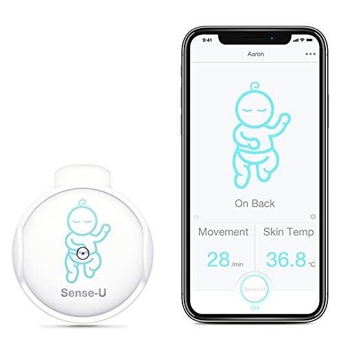 (modelo 2020) Monitor de bebé Sense-U con sensores de temperatura de movimiento de respiración: seguimiento de la respiración del bebé, el giro y la temperatura corporal con un nuevo diseño de cierre