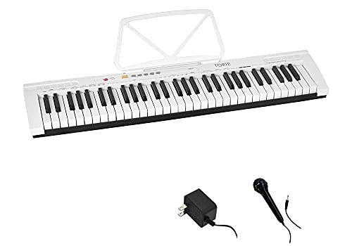 TORTE トルテ 電子キーボード 61鍵盤 日本語表記 300ボイス 軽量スリム設計 初心者向け TSDK-61 WH (譜面立て 電源アダプター マイク付き) ホワイト