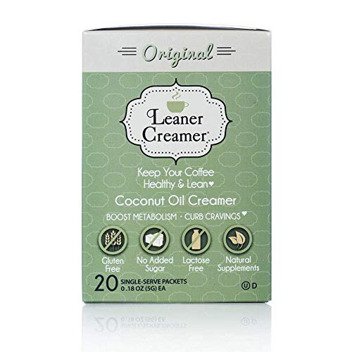 Leaner Creamer, Non-Dairy Coffee Creamer French Vanilla – Sugar Free, Unsweetened, Low Calorie, Coconut Oil, Keto, Gluten Free, Healthy Weight Loss, Fat Burning - 20 Count Singles (ORIGINAL)