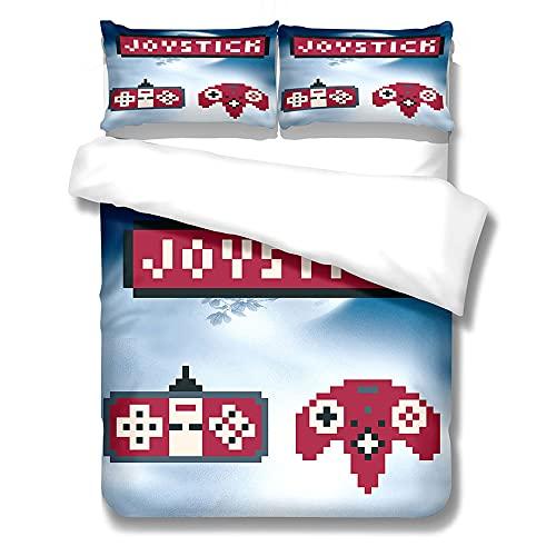 Kseyic Gamepad Juego de funda de edredón, 2/3 piezas, juego de cama con funda de almohada, funda de edredón para jóvenes (140 x 210 cm)