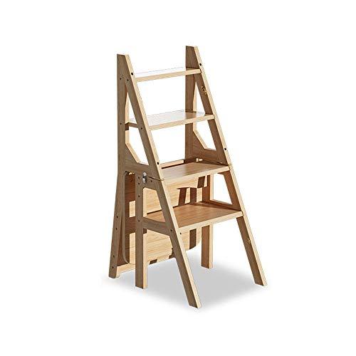 4 Peldaños Multifunción Taburete Plegable Hogar Madera Maciza Silla Escalera De Escalada Interior Estante Carga,150Gk,Color Primario De Bambú