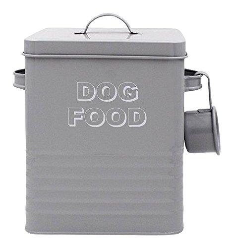 Bote para almacenar la Comida del Perro Lesser and Pavey Home Sweet Home, (20cm), diseño con Texto «Dog Food», Metal, Gris, 18 x 15 x 25 cm