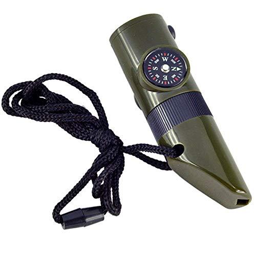 Ndier - Silbato de supervivencia 7 en 1 multifuncional con brújula, linterna de bolsillo LED, lupa termómetro para actividades exteriores