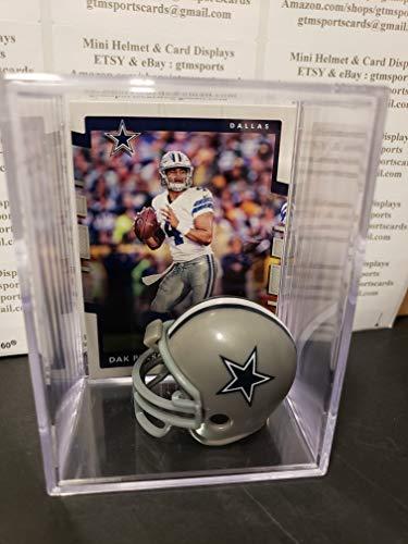 Dak Prescott Dallas Cowboys Mini Helmet Card Display Case Collectible QB Auto Shadowbox Autograph