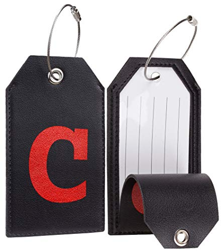 Casmonal Initial Leather Luggage Tag Travel Bag Tag Fully Bendable 2 PCS set (C)