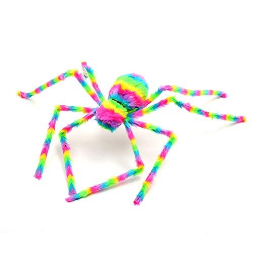 LWAN3 Decoraciones de araña de Halloween, colorida simulación de araña de felpa falsa araña colgante adorno para festivales, bares, fiestas