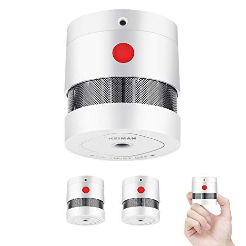 HEIMAN Mini Rauchmelder Feuermelder mit 10 Jahren Batterielaufzeit EN14604 Zertifizierter Rauchwarnmelder mit Feueralarm und Fotoelektrischem Sensor (3er Set)