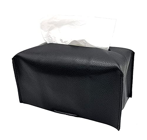 Wanty Tissue Box Cover, PU Leather Rectangular Tissue Box Holder - Decorative Holder/Organizer for Bathroom Vanity Countertop, Night Stands, Office Desk 10.23'X5.31'X5.31' (Lychee Pattern Black)
