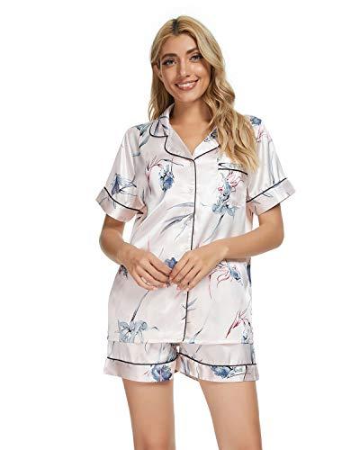 GOSO Pijama de satén para Mujer con Botones de Seda Floral Manga Cortos y Pantalones Cortos Ropa de...