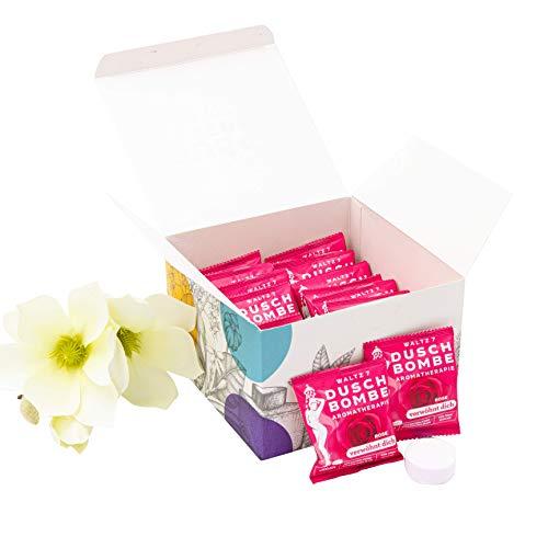 WALTZ7 Verwöhnungs-Box, Aromatherapie Set mit Rose Duschbomben, ätherisches Rosenöl für Ruhe und Entspannung, liebevolles Naturkosmetik Geschenk für Frauen