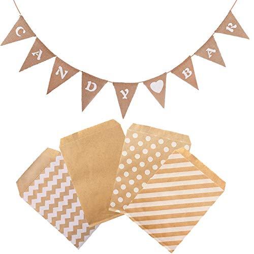 witgift Accesorios para decoración de candy bar, guirnalda de banderines + 100 bolsas de papel para bodas, fiestas, cumpleaños, decoración de eventos