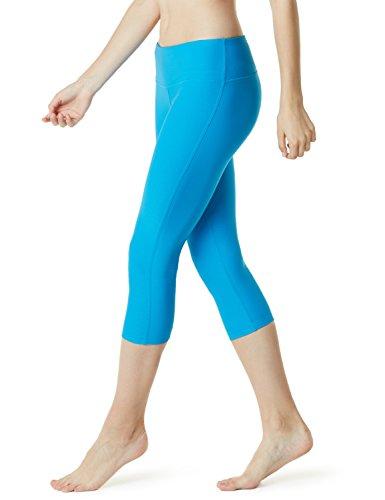 TSLA Women's Capri Yoga Pants, Workout Running Tights, 4-Way Stretch Leggings with Hidden/Side Pocket, Capris Midwaist Yogapants Royal Blue, Medium