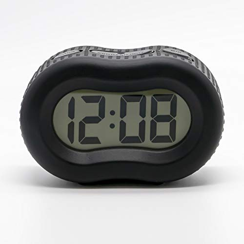 """Timelink Smartlight Black Digital Rubber Outer Shell Alarm Clock for Bedrooms Travel, for Men Women, Simple Operation, Automatic Green Smart Night Light Dimmer, Large 1"""" Display, Snooze, Small"""
