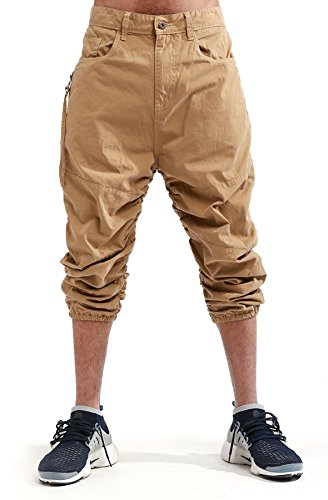 Smoke Rise Men's Twill Ruched Capri Pants (32x30, Khaki)