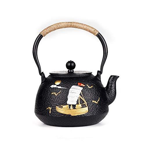 DLSMB Tetera de Hierro Fundido Fundición de Hierro del pote del té del Estilo japonés de la Tetera con Mango Anti-escaldar patrón de Vela Gaviota En La Tetera Tetera Japonesa