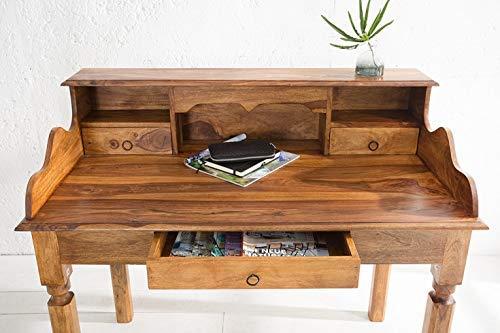 DuNord Design Schreibtisch Massivholz Sekretär Konsole Jakarta 115cm Palisander Sheesham Natur Schreibtisch