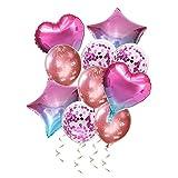 Globos Decoracione Rosa 10 Piezas, Fiestas Globos Corazón Cumpleaños, Party Globo Estrella, Conjunto de Globos de Helio para Navidad Bodas Fiestas Infantiles Decoracion