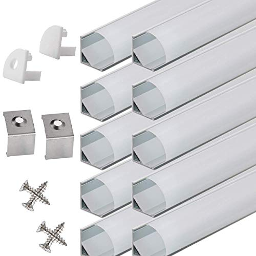 StarlandLed 10-PACK 6.6FT/2 Meter LED Aluminum Channel V-Shape, LED Profile with End Caps and Mounting Clips for LED Strip Light Mounting