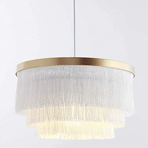 Lámpara colgante nórdica moderna de 17 '' 3 tercera lámpara de techo redonda contemporánea con borlas románticas para dormitorio, comedor, sala de estar, decoración para el hogar, blanco-blanco.1 luz