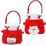 HTZ-M 2pcs Decoraciones navideñas Bolsas de Regalo 3D Santa Muñeco de Nieve con cordón Bolsas de Mano Bolsas de Dulces encantadores Canasta de Flores para Regalos Envoltura de Compras