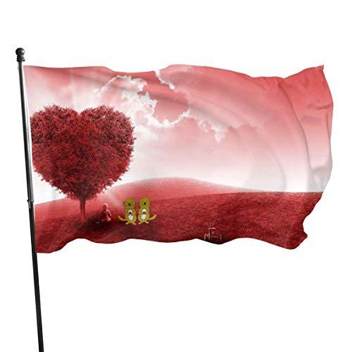 Drapeau en Polyester de 3 x 5 Pieds, Arbre de Coeur Rouge Dream Fly Breeze, Drapeaux de Plage durables résistants à la décoloration avec en-tête et œillet en Laiton, Facile à Utiliser