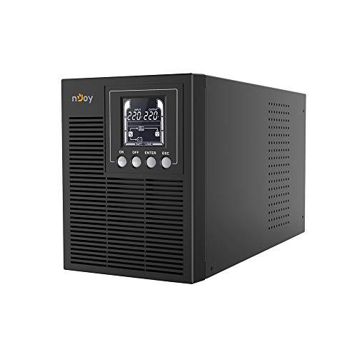 nJoy Echo 1000VA PRO Gruppo di Continuità On-Line Doppia Conversione UPS, 800 Watt, Onda Sinusoidale Pura, Display LCD, 3 Uscite Schuko, RS232, HID USB, EPO, SNMP, 2 Batterie, (HxWxD 190x140x327 mm)