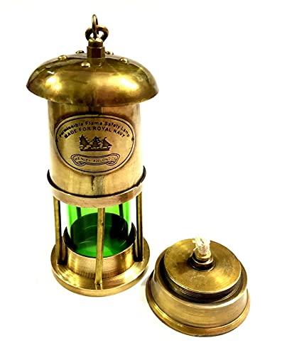 Lámpara de minero de latón antiguo para barco náutico ace