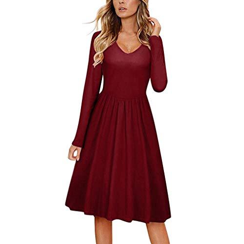 NPRADLA Damen Freizeitkleider Herbst Langarm V-Ausschnitt Plissee Party Abend Bow-Knot Bandage Pure Color Mädchen Midi Kleid(M,Rot)