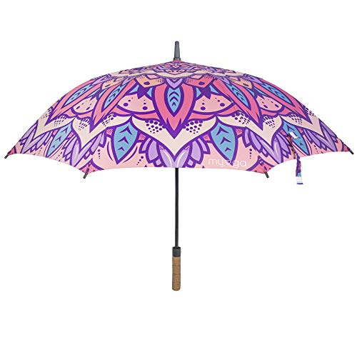 Myga RY1398 Mandala Paraguas 47 pulgadas resistente al viento paraguas abierto automático de gran tamaño con mango de corcho, protección solar, lluvia y resistente al viento
