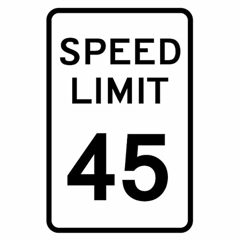 楽観監督する豊かな【カッティングステッカー アメリカ スピードリミット45マイル(道路標識) 2枚組 幅約11.7cm×高約18cm】カラー:黒(ブラック)
