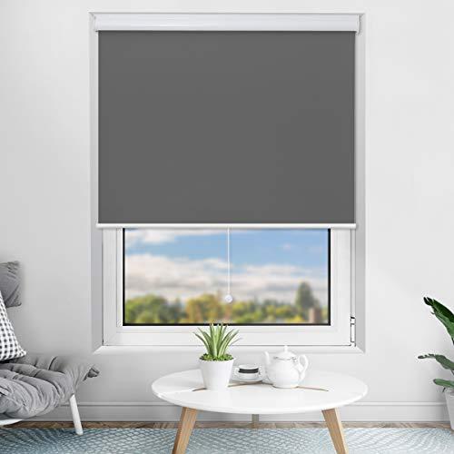 Bernice Springrollo mit Aluminium-Kassette,Schnurlos schnapprollo für Fenster zum Bohren,Grau 100 x 220cm Mittelzugrollo,Sicht- und Sonnenschutz Verdunkelungsrollo mit Oeko-TEX