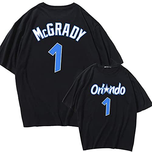 Camiseta De Baloncesto Tracy McGrady, 1# Houston Rockets, Manga Corta De Algodón con Estrella De Baloncesto, Adecuada para Uso Diario Y Juegos De Baloncesto (S-XL),Black-S