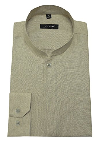 HUBER Leinenhemd Asia Stehkragen beige XL