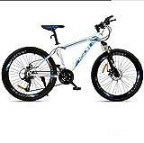 Adulto de Bicicletas de montaña, Bicicletas de Marco Doble Freno de Disco de Acero de Alto Carbono /, Playa de Motos de Nieve Unisex de Bicicletas, Ruedas de 26 Pulgadas,Blanco,21 Speed