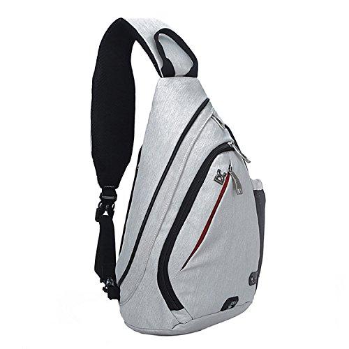 NOTAG Toile Sac Poitrine, Sac Bandouliere Poitrine Casual bandoulière épaule triangle packs sacs pour les hommes femmes pour camping (blanc)