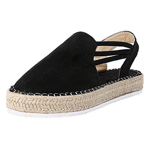 COZOCO Frauen Sommer Mode Casual Sandalen Schnalle Riemen Folien Keile Plattform Retro Peep Toe Sandalen(schwarz,36 EU)