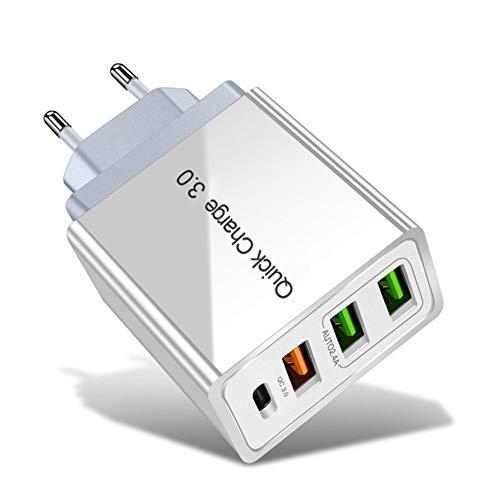 DYHQQ Cargador USB C, 48W 4 Puertos Carga rápida PD Cargadores de Pared Carga rápida 3.0, Adaptador de Viaje USB-C de Puertos múltiples para SamsungS10 / S9, iPhone XS/MAX/XR / iPhone11,B