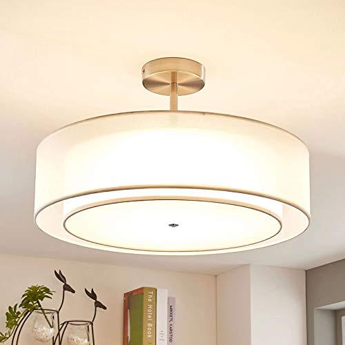 Depuley Deckenleuchte Schlafzimmer Weiß mit Stoffschirm LED Deckenlampe Wohnzimmer textil modern rund innen Einbau Hängend mit 3 E27 Basis(Glühbirne Nicht inkl.) für Esszimemr Flur Büro Kinderzimmer