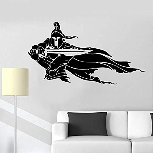 Zbzmm N krijgbaar helm zwaard mantel de oorloggers vinyl wandtattoo wooncultuur slaapkamer kunstwand behang muur stickers 58 * 31 cm