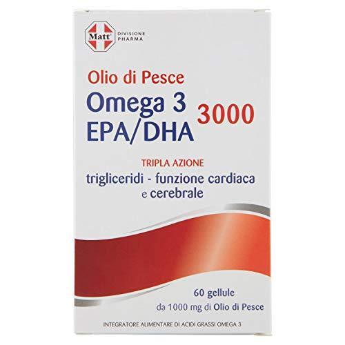 Matt Divisione Pharma - Omega 3 EPA/DHA 3000 - Integratore Alimentare di Olio di Pesce per Controllo Trigliceridi e Pressione Sanguigna - 76 gr