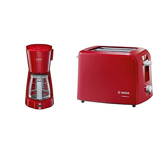 Bosch TKA3A034 CompactClass Extra Cafetera de goteo, capacidad para 10 tazas,1,25 litros, color rojo + Compact Class TAT3A014 - Tostador, 980 W, 2 Ranuras extra anchas, color Rojo