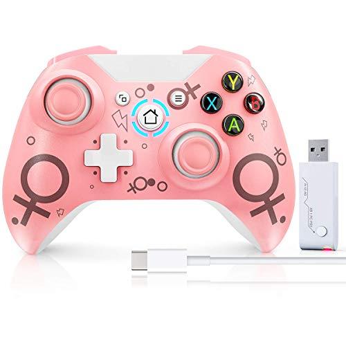 Kabelloser Controller für Xbox One, passend One S/One X/One Elite, Windows 7/8/10/PS3, Usergaing Wireless PC Gamepad mit 2,4 GHz Adapter, Pink (2020 neueste Version), ohne Audio-Buchse