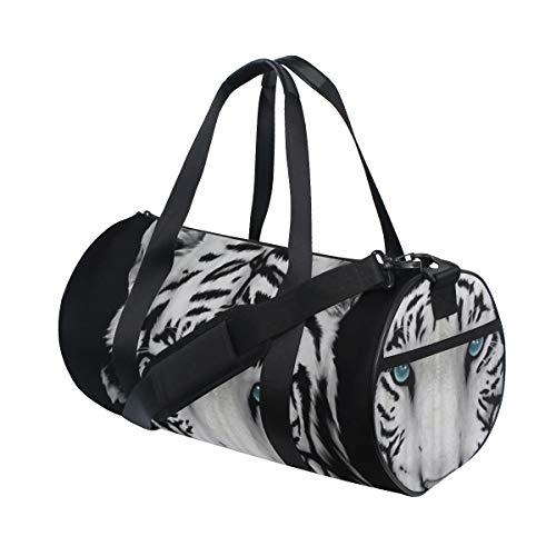 ZOMOY Bolsa de Deporte,Pintura de Lavado de Tinta Negra de Tigre Blanco con Ojos Azules,Nuevo de Cubo de impresión Bolsas de Ejercicios Bolsa de Viaje Equipaje Bolsa de Lona